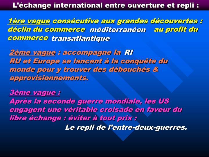 L'échange international entre ouverture et repli :