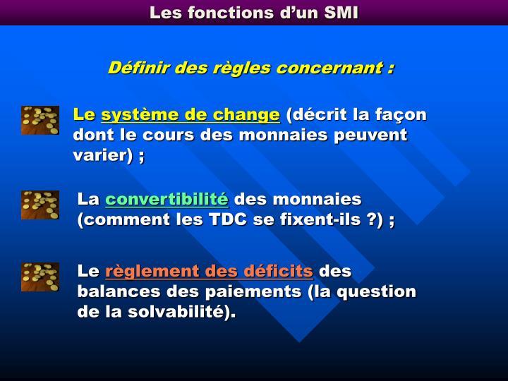 Les fonctions d'un SMI