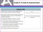 grade 6 a look at measurement