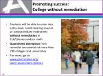 promoting success college without remediation