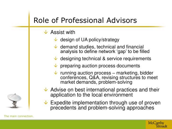 Role of Professional Advisors