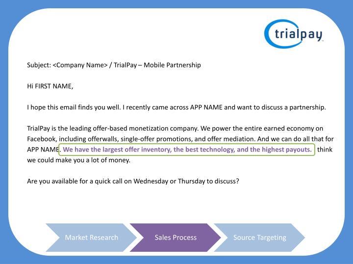 Subject: <Company Name> /