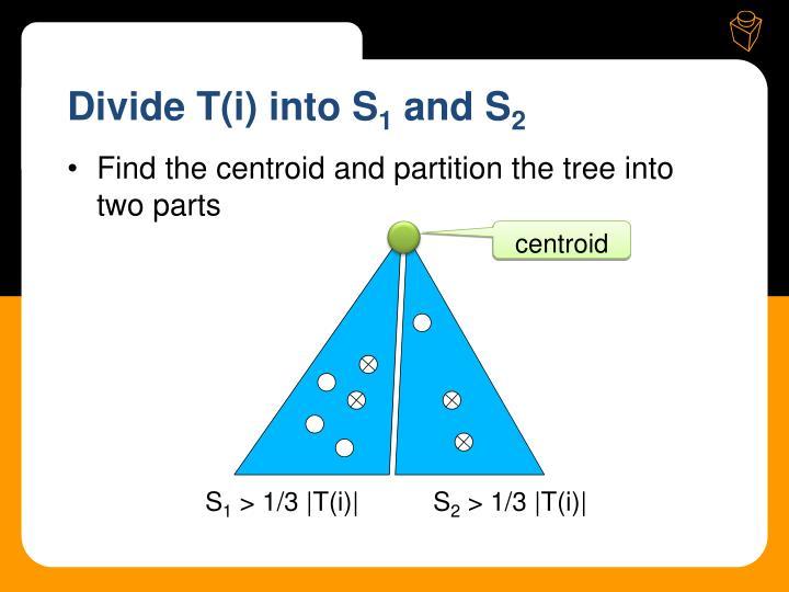 Divide T(i) into S