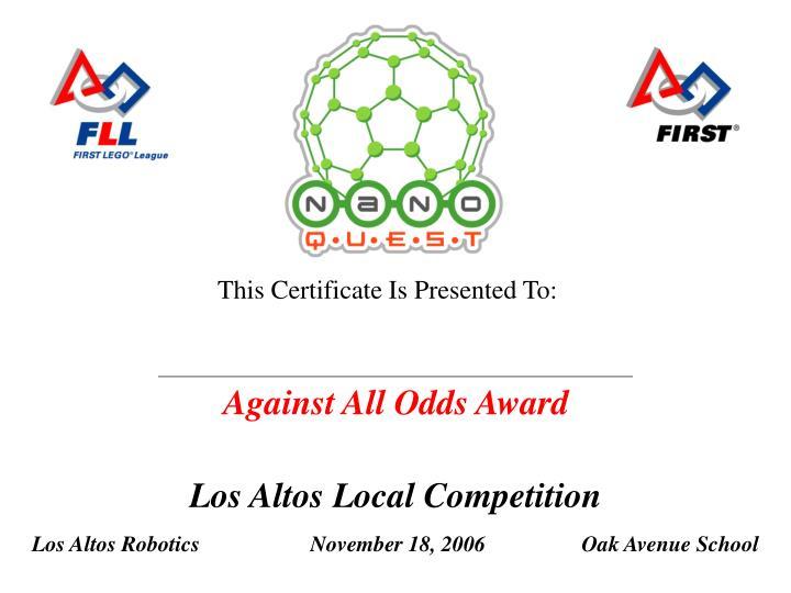 Against All Odds Award