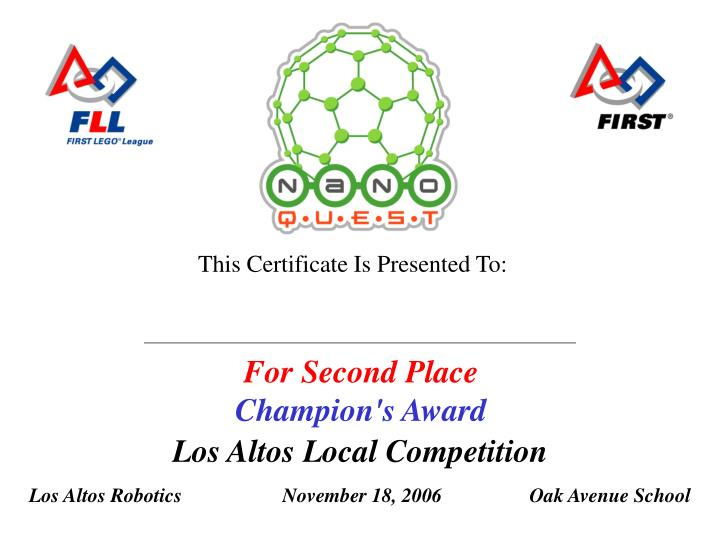For second place champion s award