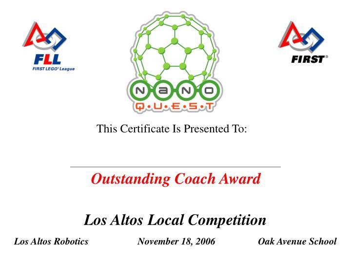 Outstanding Coach Award