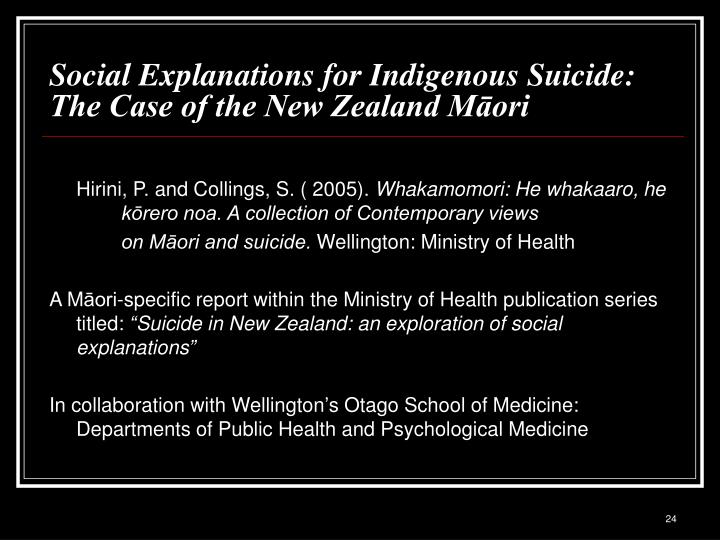 Social Explanations for Indigenous Suicide: The Case of the New Zealand Māori