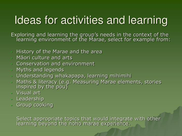 Ideas for activities and learning
