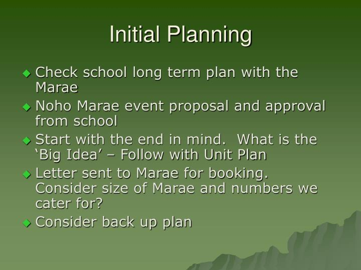 Initial Planning