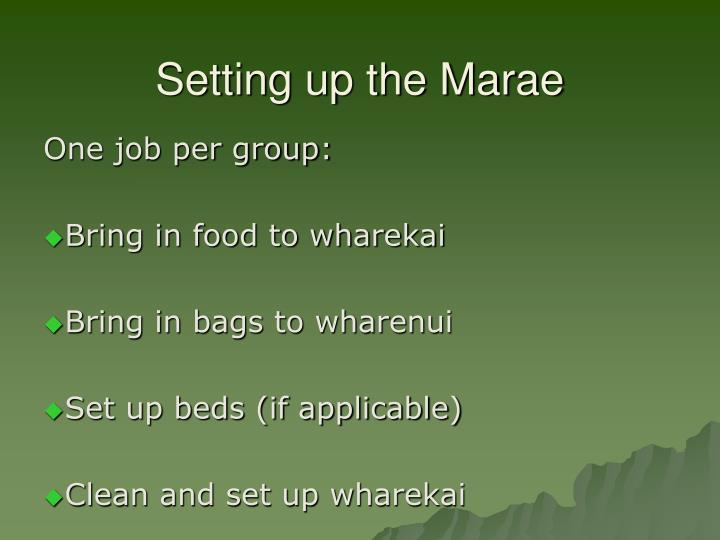 Setting up the Marae
