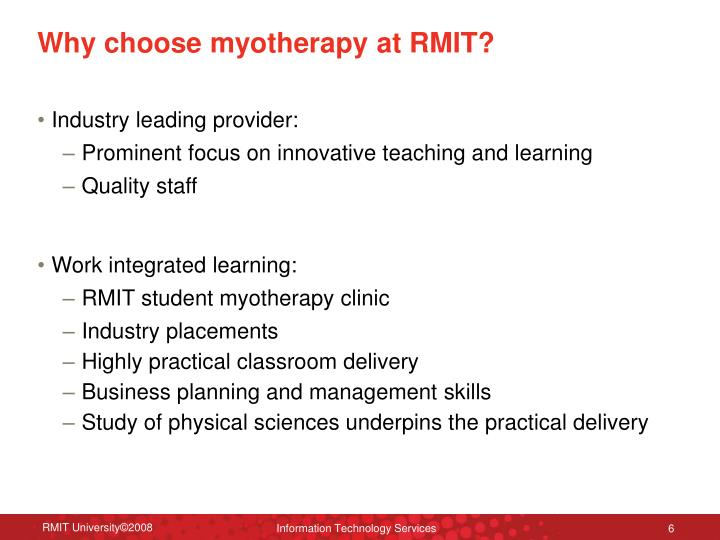 Why choose myotherapy at RMIT?