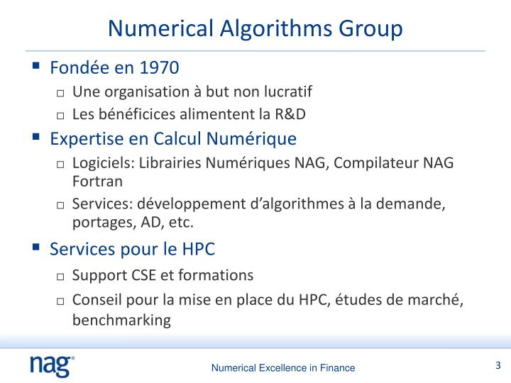 Numerical algorithms group