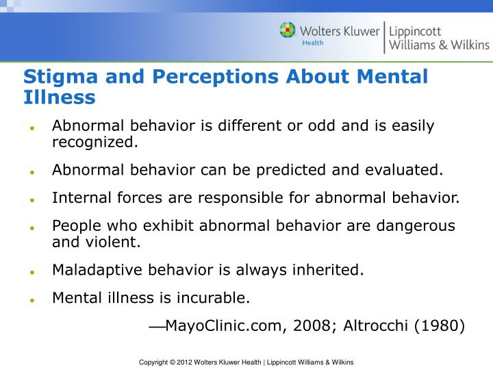 Stigma and Perceptions About Mental Illness