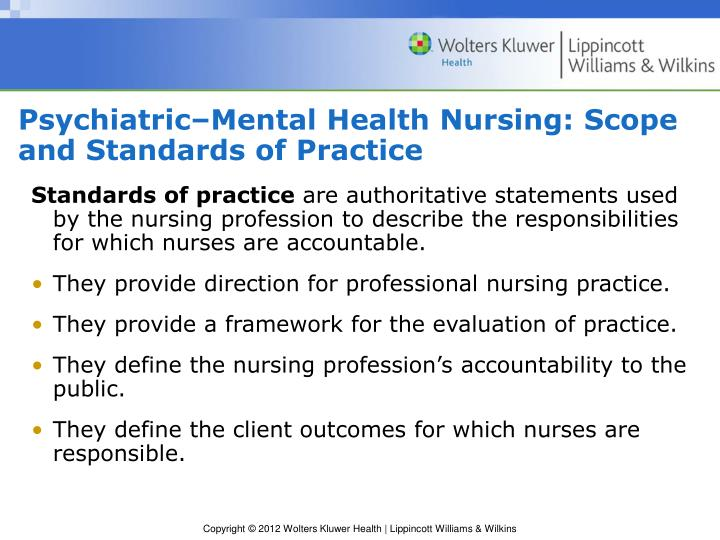 Psychiatric–Mental Health Nursing: Scope and Standards of Practice