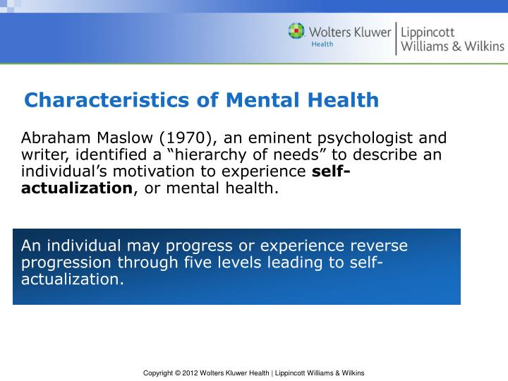Characteristics of Mental Health