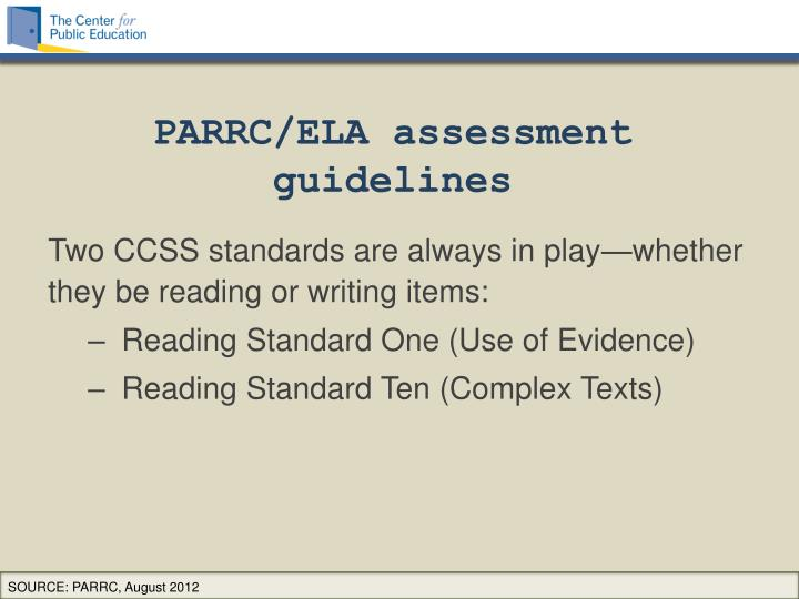 PARRC/ELA assessment guidelines