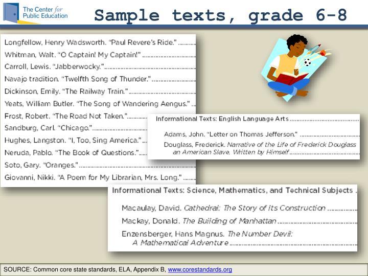 Sample texts, grade 6-8