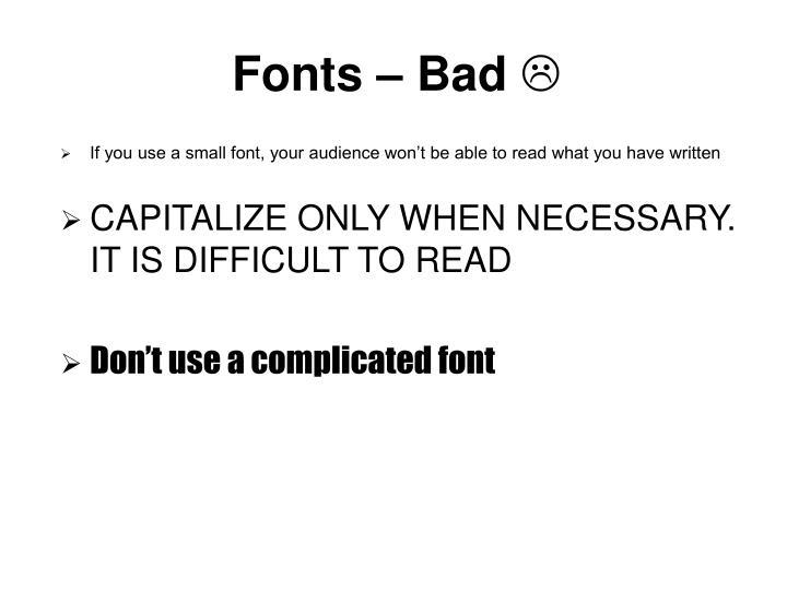 Fonts – Bad