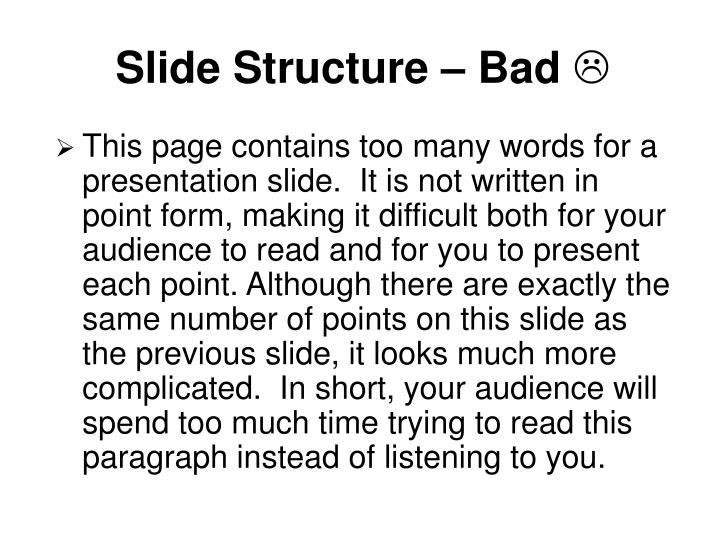 Slide Structure – Bad
