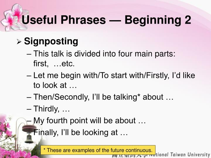Useful Phrases — Beginning 2