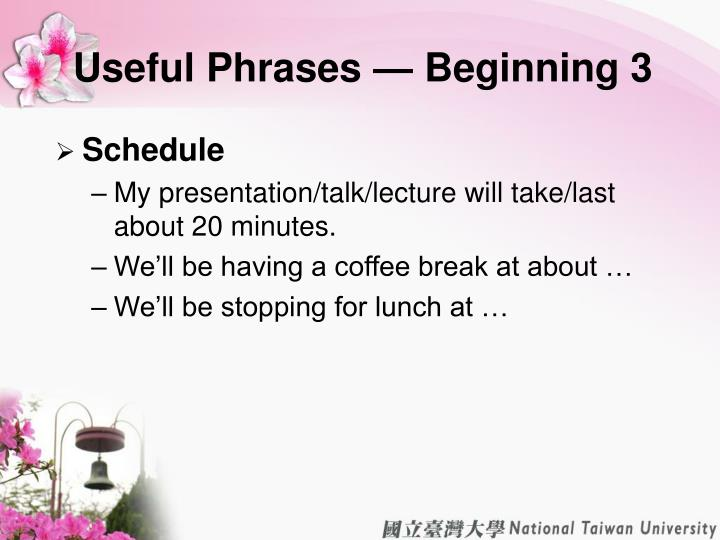 Useful Phrases — Beginning 3