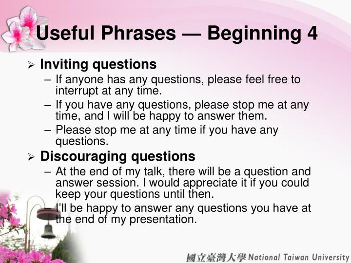 Useful Phrases — Beginning 4