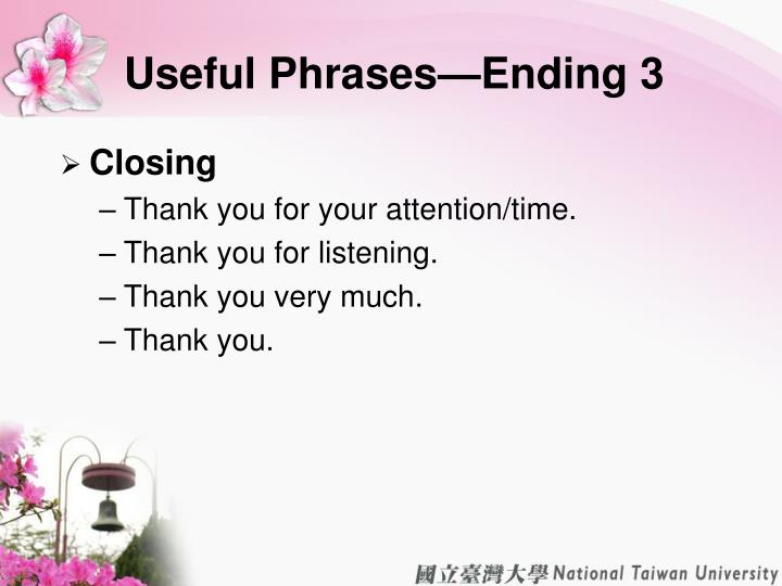 Useful Phrases—Ending 3
