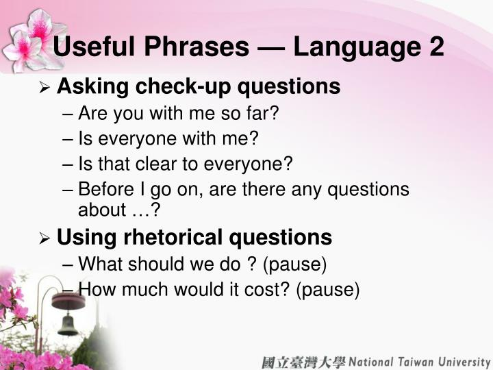 Useful Phrases — Language 2