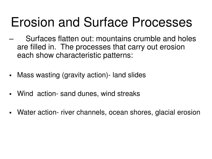 Erosion and Surface Processes
