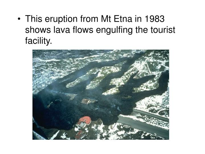 This eruption from Mt Etna in 1983 shows lava flows engulfing the tourist facility.