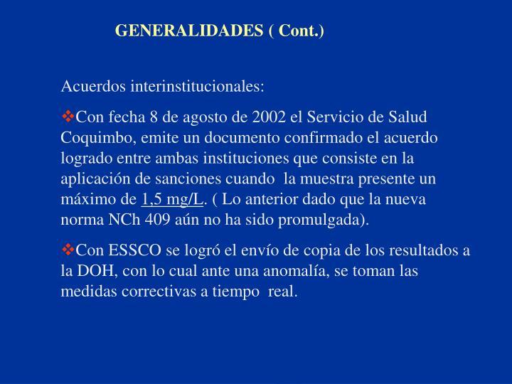 GENERALIDADES ( Cont.)