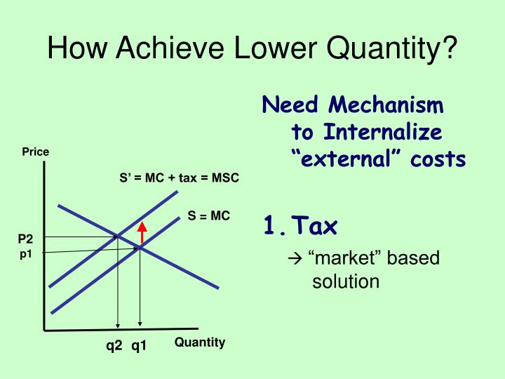 "Need Mechanism to Internalize ""external"" costs"
