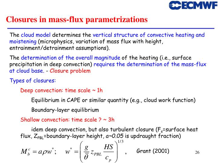 Closures in mass-flux parametrizations