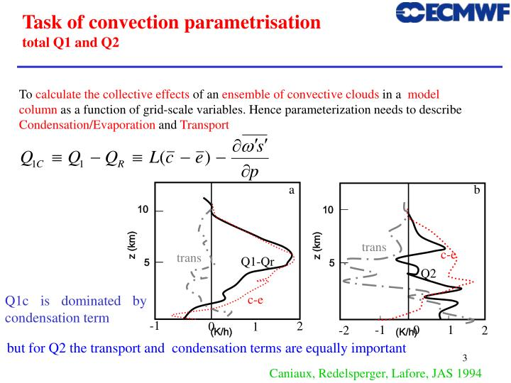 Task of convection parametrisation total q1 and q2