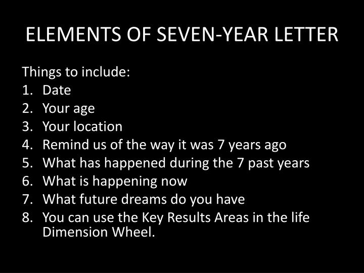 ELEMENTS OF SEVEN-YEAR LETTER