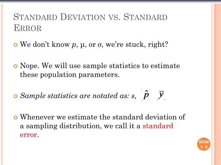 Standard Deviation vs. Standard Error