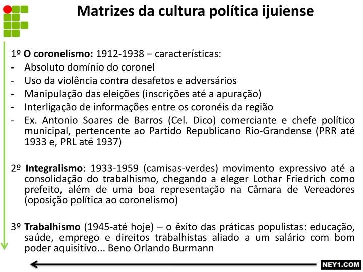 Matrizes da cultura política ijuiense