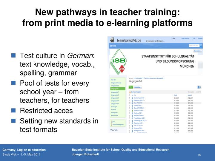 New pathways in teacher training: