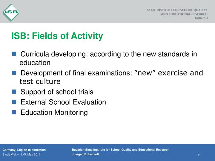 ISB: Fields of Activity