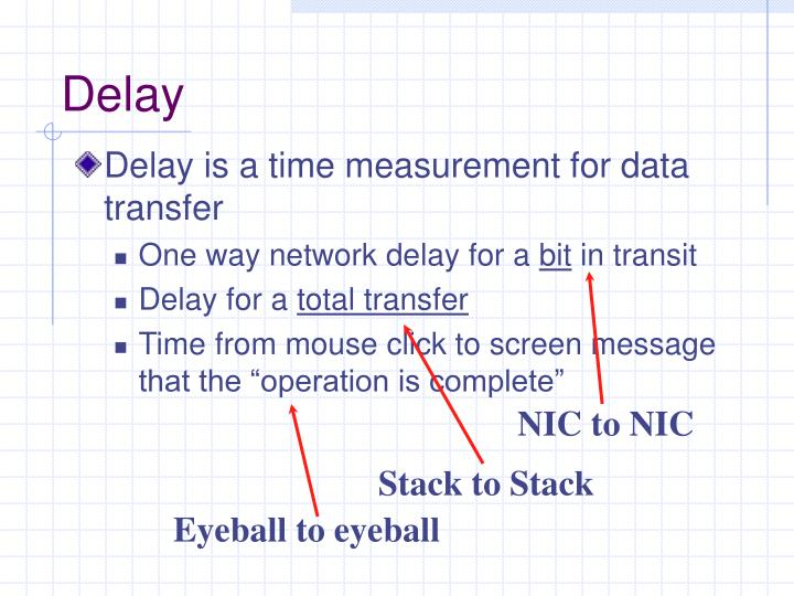 Delay is a time measurement for data transfer