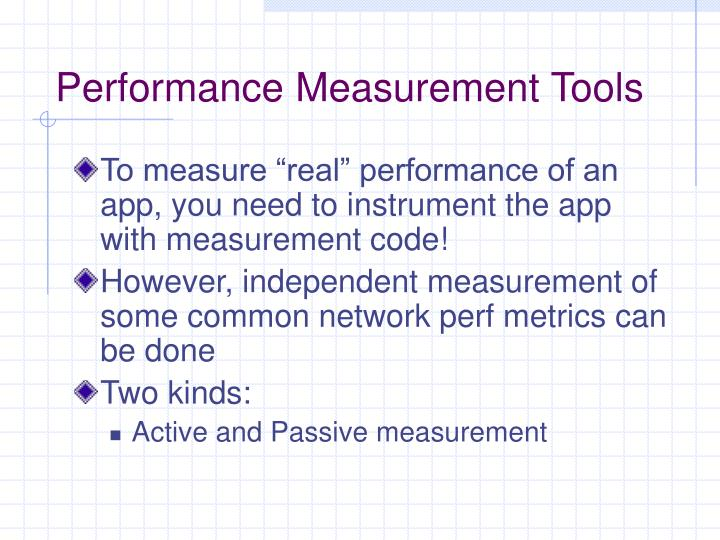 Performance Measurement Tools