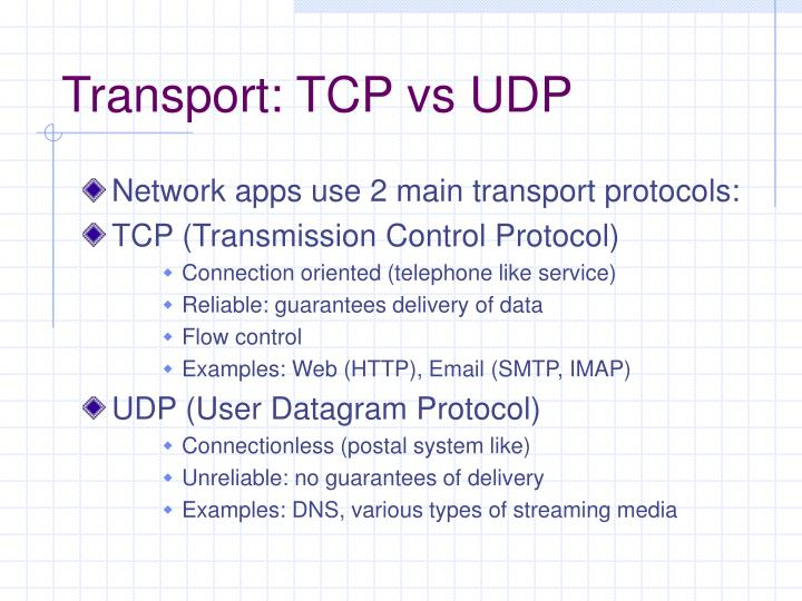 Transport: TCP vs UDP