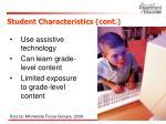student characteristics cont