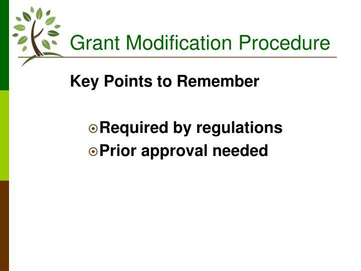Grant Modification Procedure