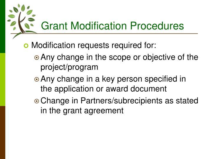 Grant Modification Procedures