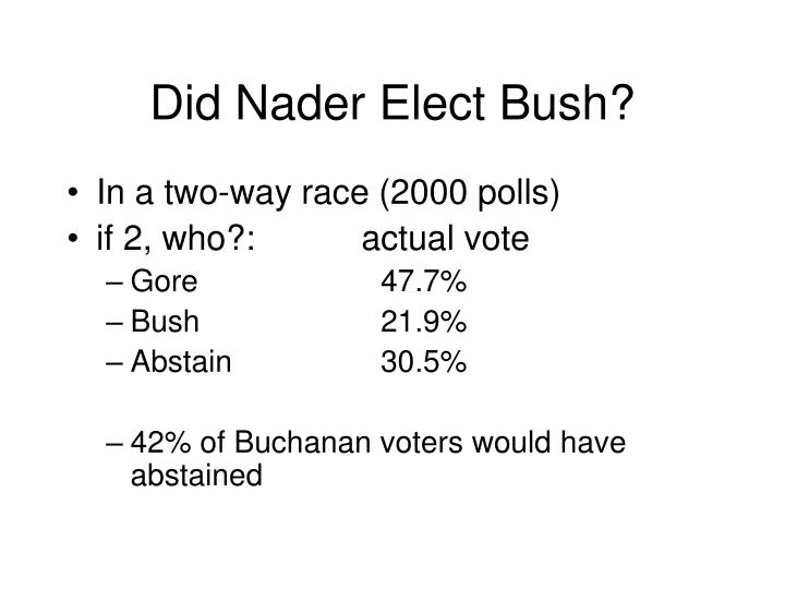 Did Nader Elect Bush?