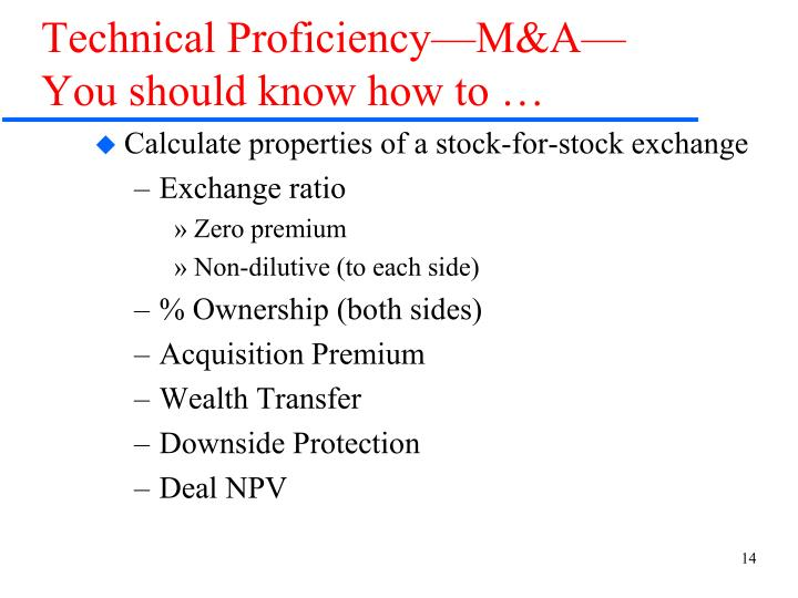 Technical Proficiency—M&A—