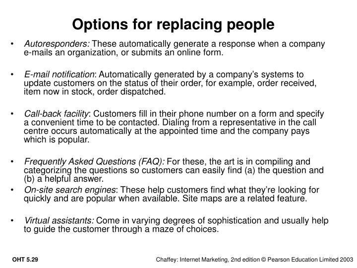Options for replacing people