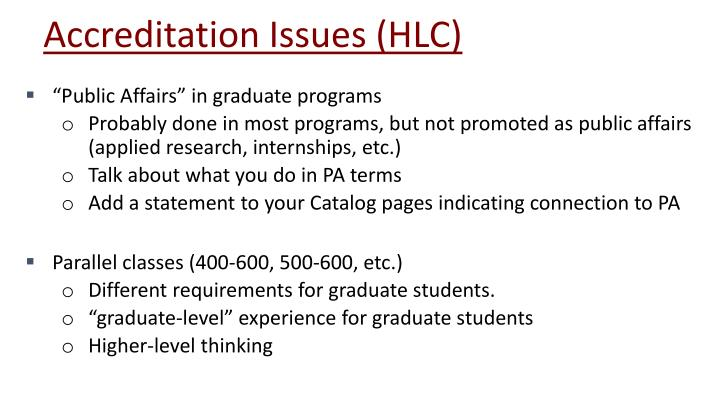 Accreditation Issues (HLC)