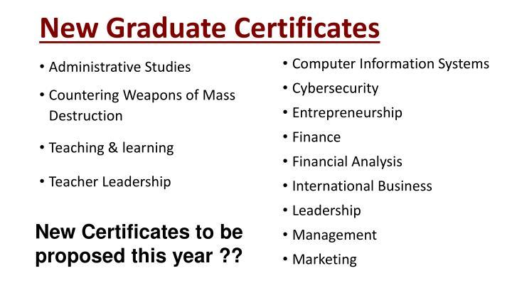 New Graduate Certificates